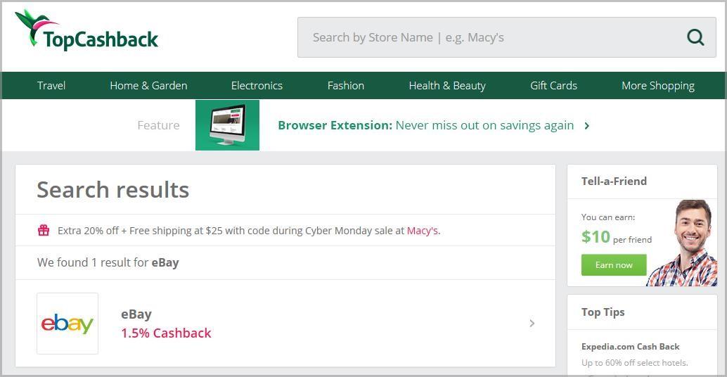 cashback for ebay