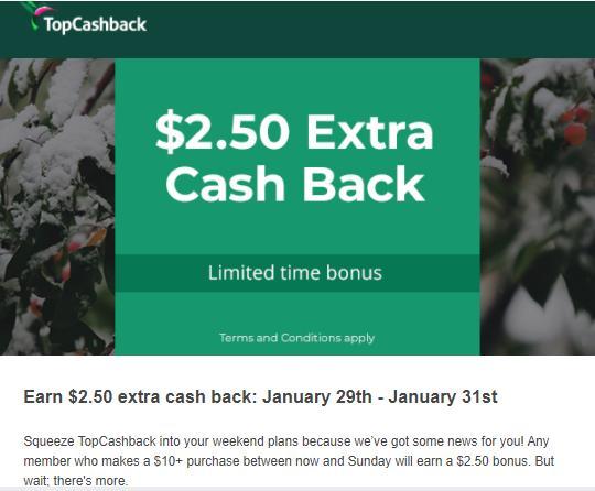 Предложение повышенного кэшбэка от Topcashback